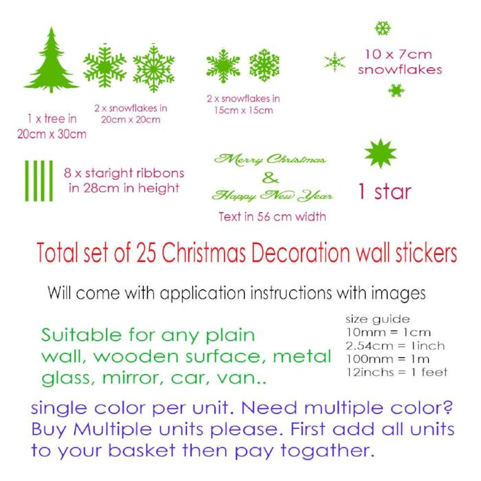 Wall Sticker 25 Set Merry Christmas Tree