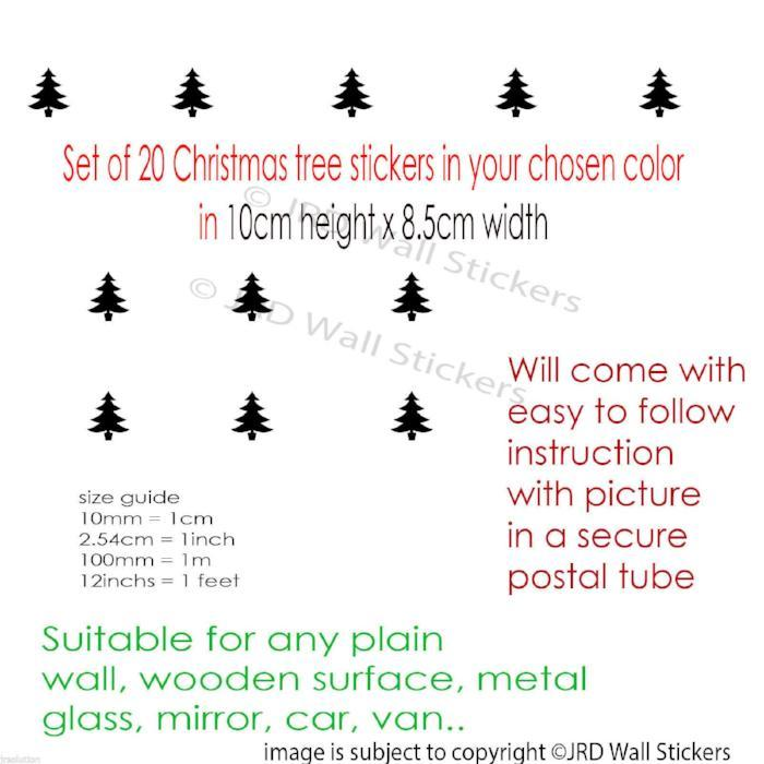 Set of 20 Xmas Tree Removable Wall Decal