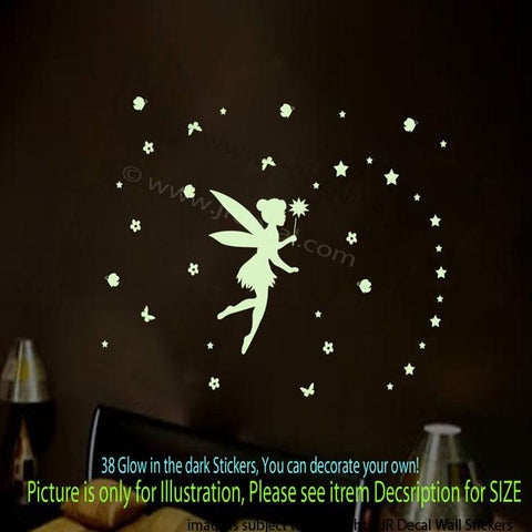 Glow in the Dark FAIRY TALE Wall Stickers 38 pieces