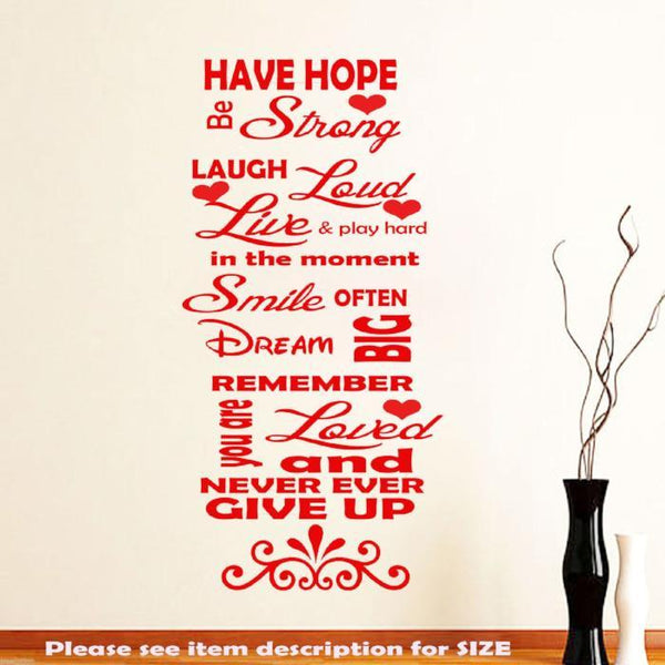 Family Love Have Hope Inspirational Wall Quotes