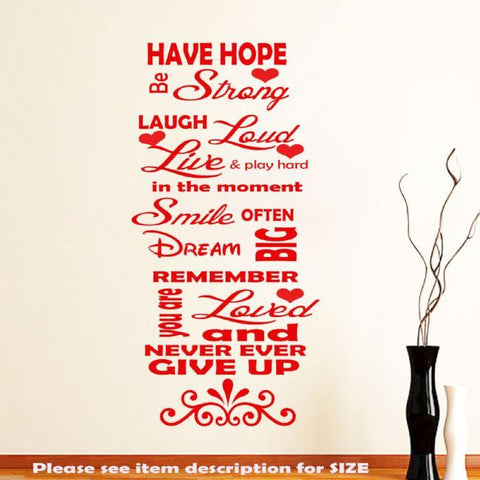 Family Love Have Hope Inspirational Wall Quotes JRD3