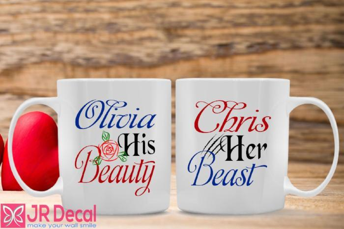Personalised Name Printed Mugs with Beauty and Beast theme