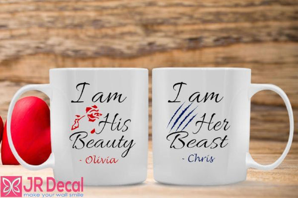 personalised name printed couple mugs with beauty and beast theme
