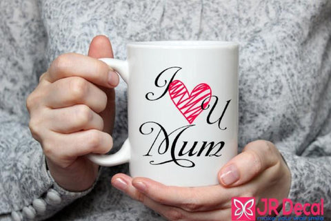 I love you Mum printed ceramic Mug Mothers Day Mug, Mum Christmas Gift Mug
