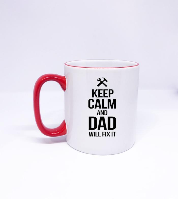 """Keep Calm and DAD will Fix it"" Printed Dad Mug"