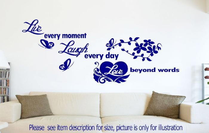 Live Love Laugh Quote Removable Vinyl