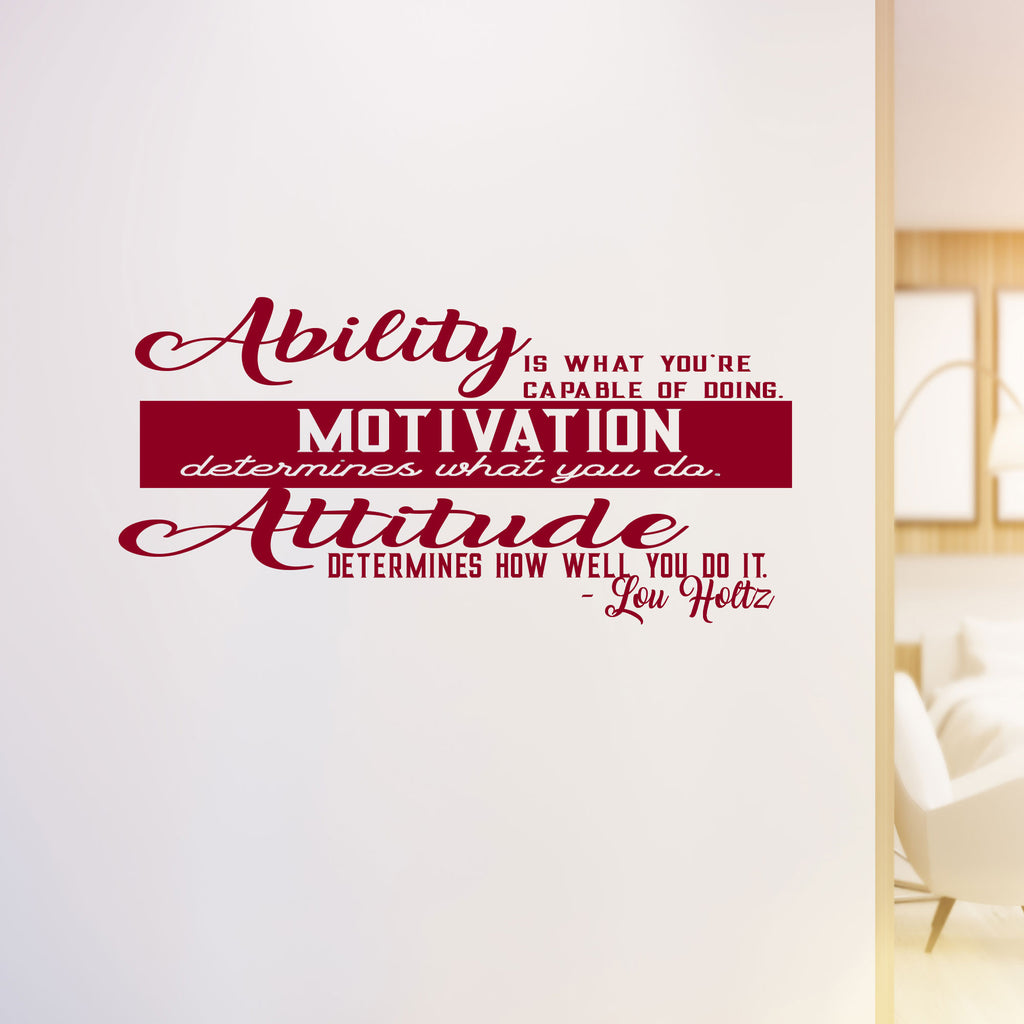 """Ability"" Lou Holtz's motivational wall sticker"