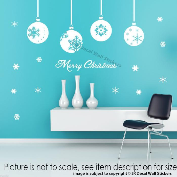 Merry Christmas Tree Baubles Wall Sticker
