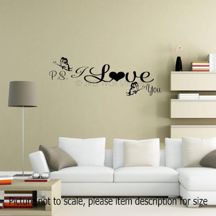 Ps i love you quote wall stickers home decor qw 03 jr decal ps i love you vinyl wall decals amipublicfo Choice Image