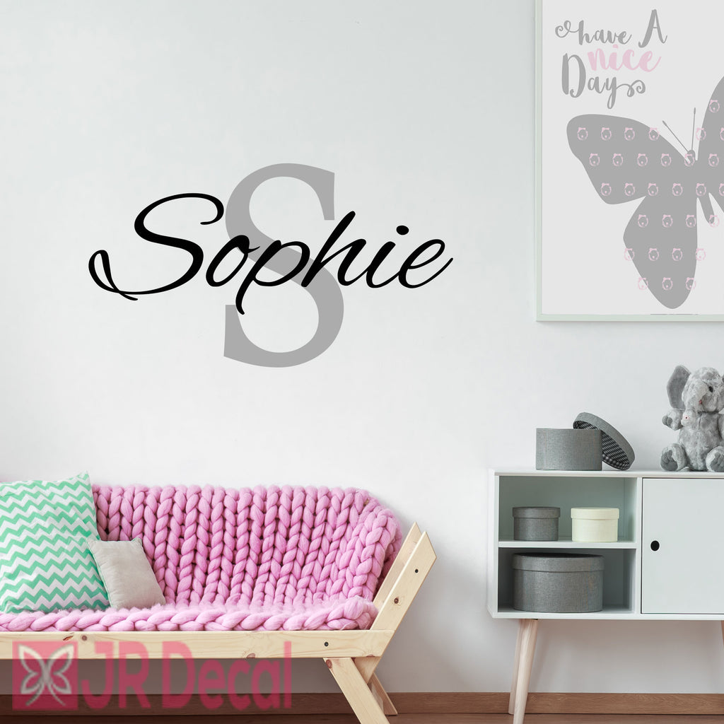 Girl Personalised name sticker with Monogram