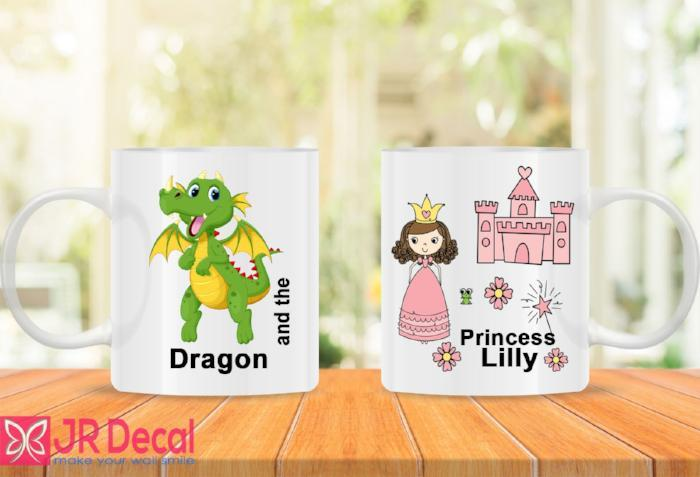 Personalized princess and dragon name printed coffee mug D13
