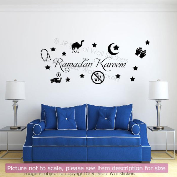 Islamic Wall Sticker Ramadan Kareem Allah Arabic Art vinyl Decal Star Moon QV-35