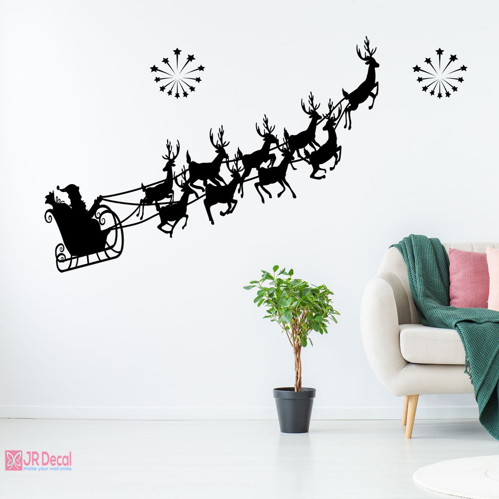 Santa Claus Sleigh wall sticker