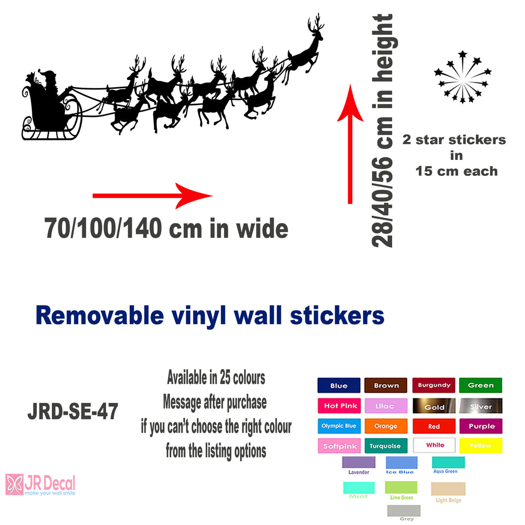 Santa Claus Sleigh wall Decals