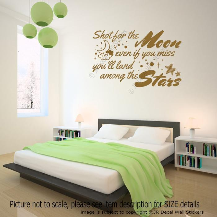 """Shot for the Moon, Even if you miss you'll land among the Stars""- Inspirational quote wall art"
