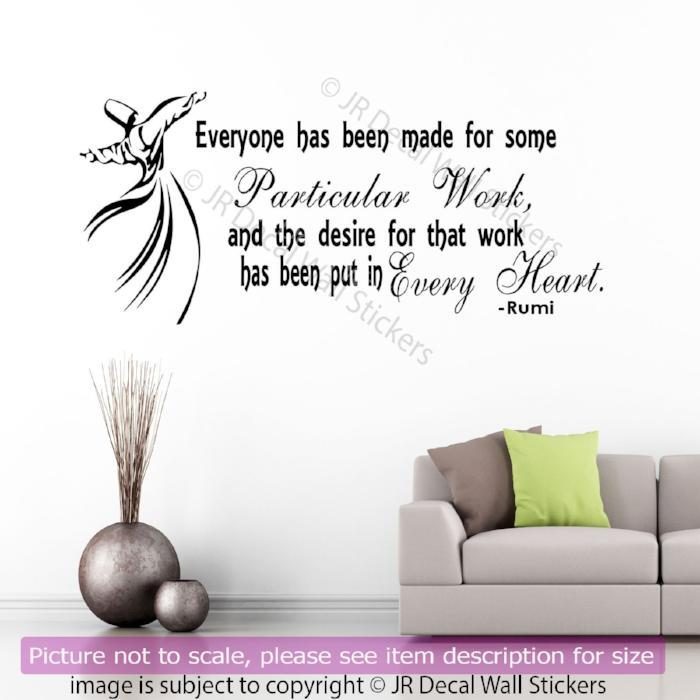 Jalaluddin rumi inspirational quote on life removable vinyl wall rumi inspirational quote wall stickers amipublicfo Images