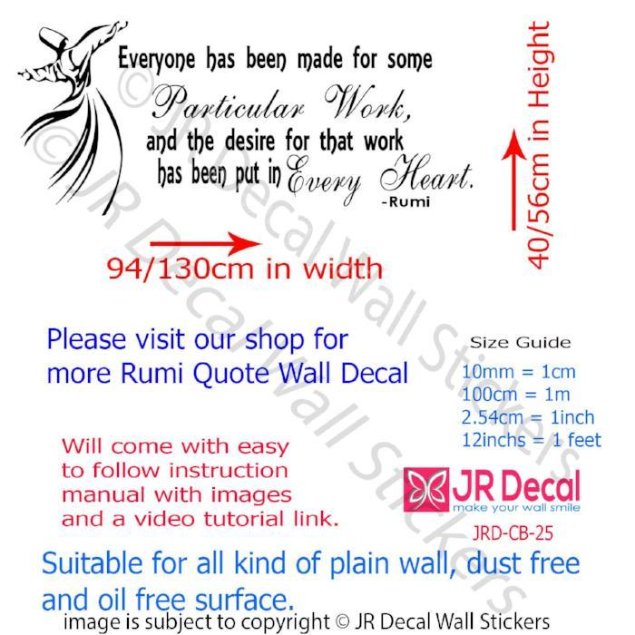 Everyone has Particular work- Jalaluddin Rumi Inspirational quote wall