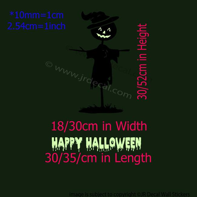 Scarecrow Glow in Dark Happy Halloween Wall Stickers