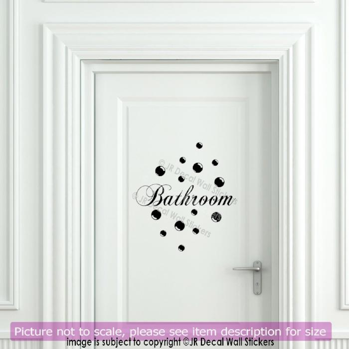 Bubble Dot Bathroom Quote for Door