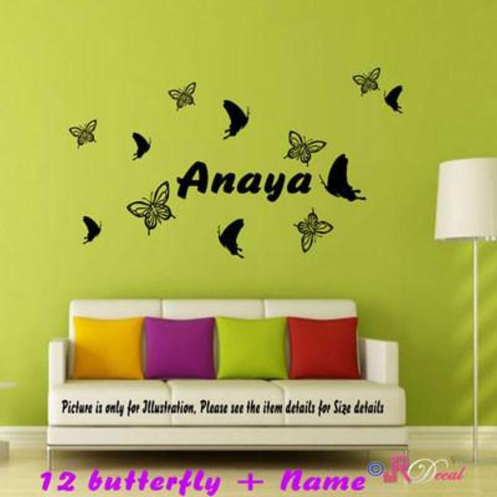 Multi Butterfly Personalized Name Vinyl Wall Sticker