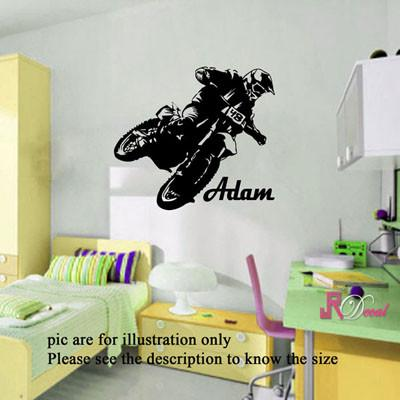 Motorbike wall sticker Personalised name sticker