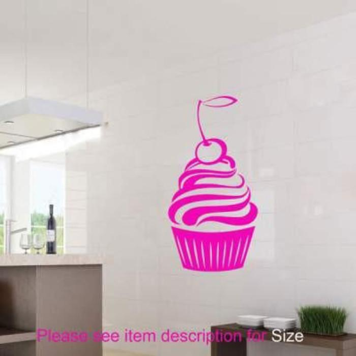 Large Cherry CUPCAKE Wall Art Stickers