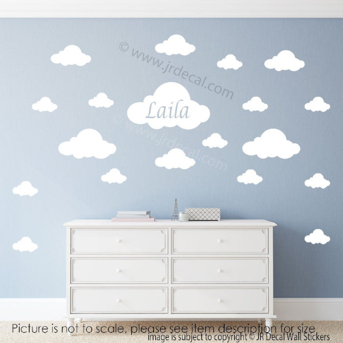 Cloud stickers for walls, Personalised name sticker, kids room decals