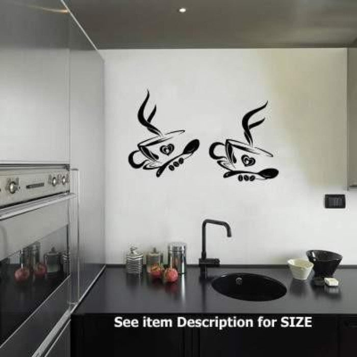 2 Coffee Cups KITCHEN WALL STICKERS