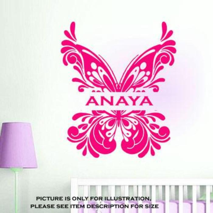 Butterfly Wall Sticker with Personalised Name Sticker