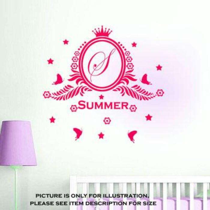 Custom Monogram Name Initials Nursery Girls Bedroom Vinyl Wall Stickers Part 82