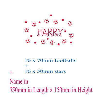 Football decals with Personalised name sticker