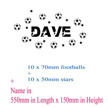 Set of football Personalised name sticker