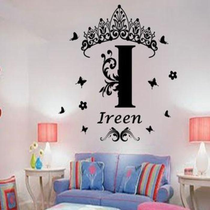 custom name monogram princess crown vinyl wall stickers – jr decal