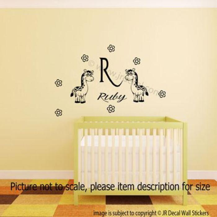 Giraffe and Baby Girls Personalized Name Initial Wall Stickers