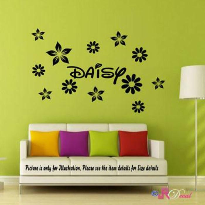 Personalised name sticker with Daisy wall sticker set Flower wall stickers