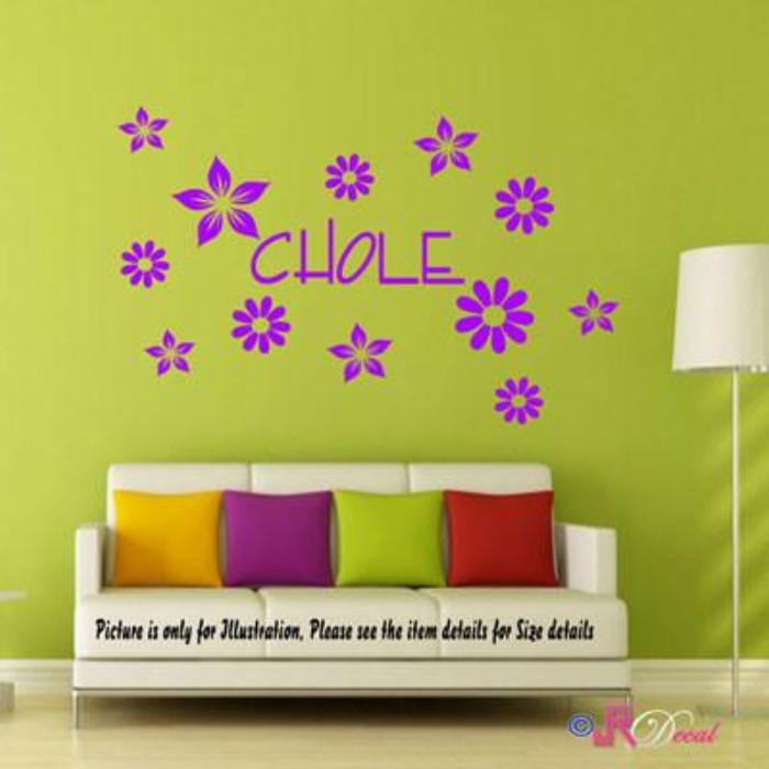 Daisy Flower Wall Sticker with Personalised name sticker