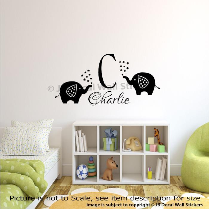 Personalised Name Initial Monogram Elephant Wall Decals nuirsery