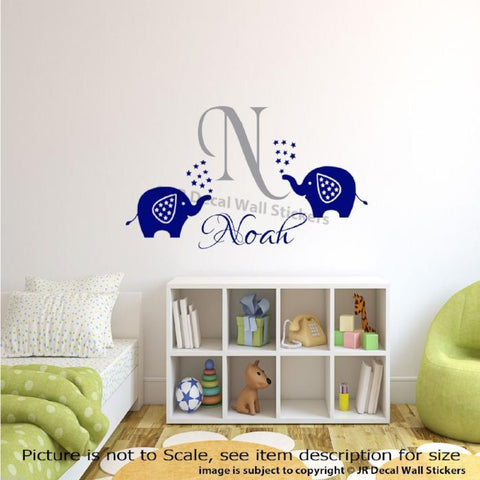 Personalised Name Initial Monogram Elephant Wall Decals