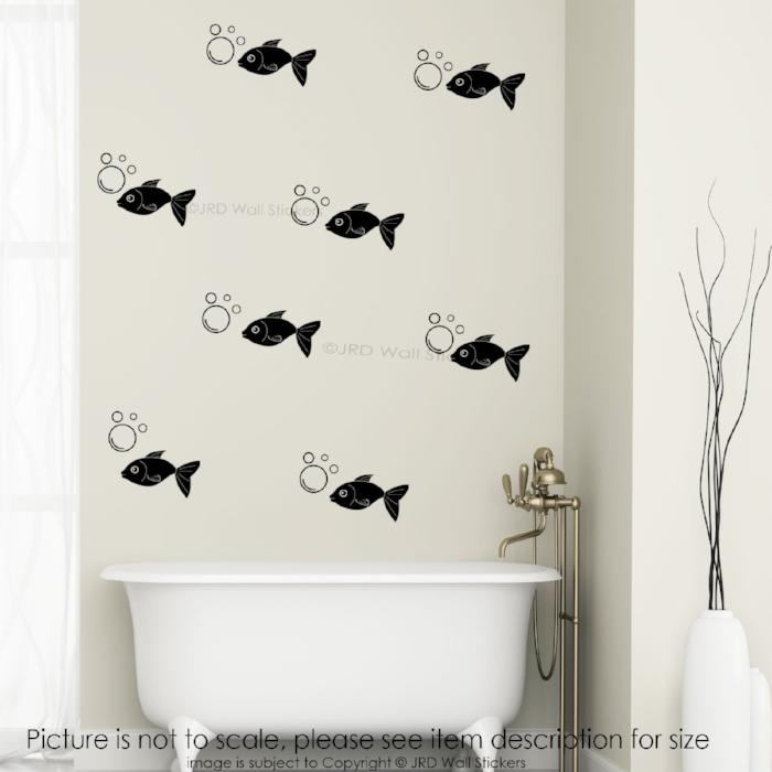 Removable wall decals for bathroom - 35x Fish Bubble Bathroom Wall Decals