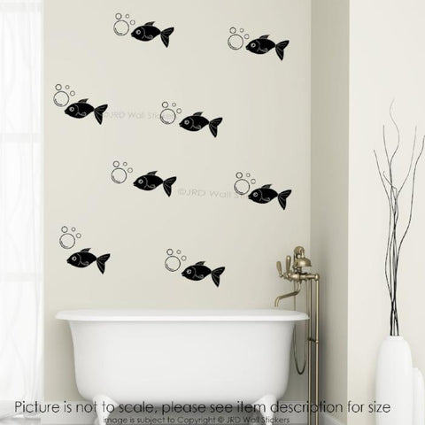 35X Fish Bubble Bathroom Wall Decals