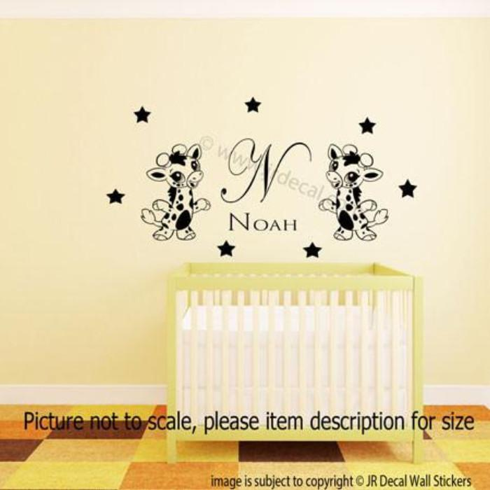 Giraffe and Baby Boys Personalized Name Initial Wall Stickers