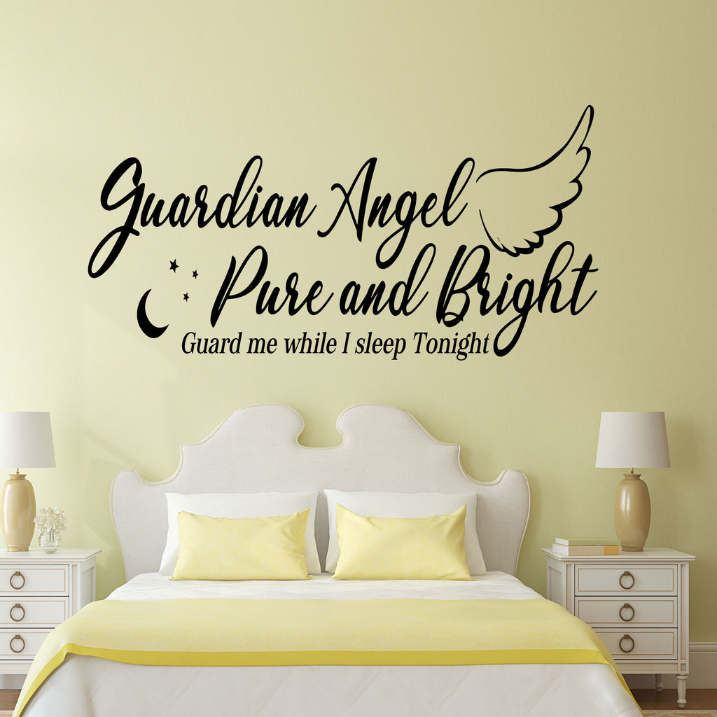 """Guardian Angel Guard Me"" - Nursery Wall Sticker"