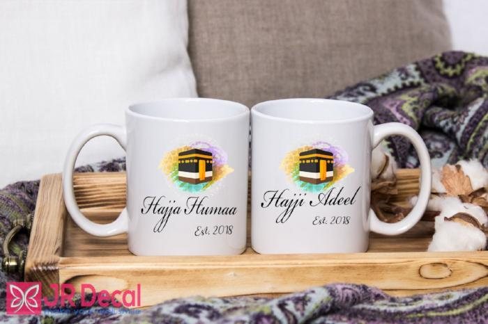 Hajja and Hajji - Islamic Mugs set for couple - Personalised Muslim Gifts with custom name