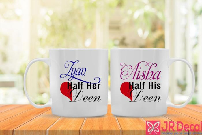 Personalised Name Printed Islamic Mugs- 'Half her Deen and Half his Deen'