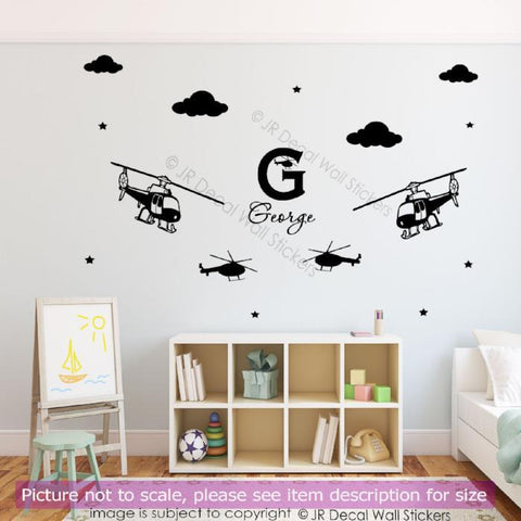 Helicopter personalised name Wall Vinyl Decals JRD-PR-06
