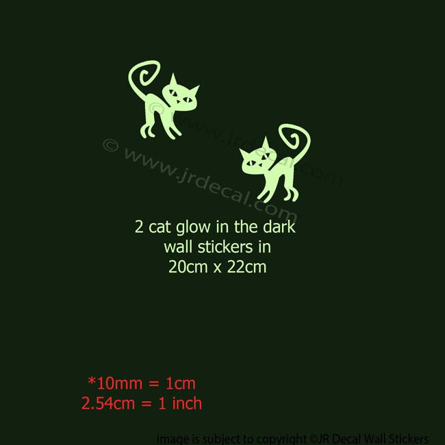 ... Halloween CAT Glow In The Dark 2 Pieces Wall Stickers