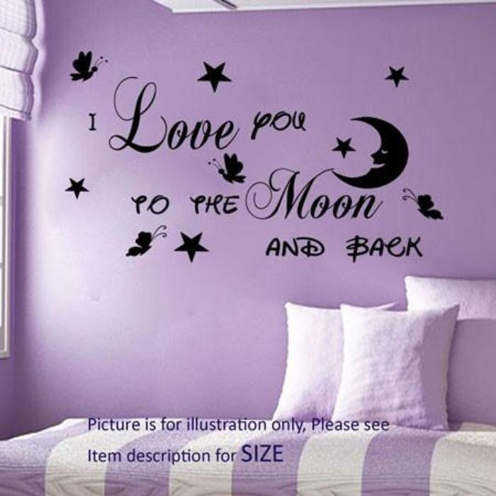 """I Love You To The Moon And Back""- Love quote wall art, Butterfly wall sticker"