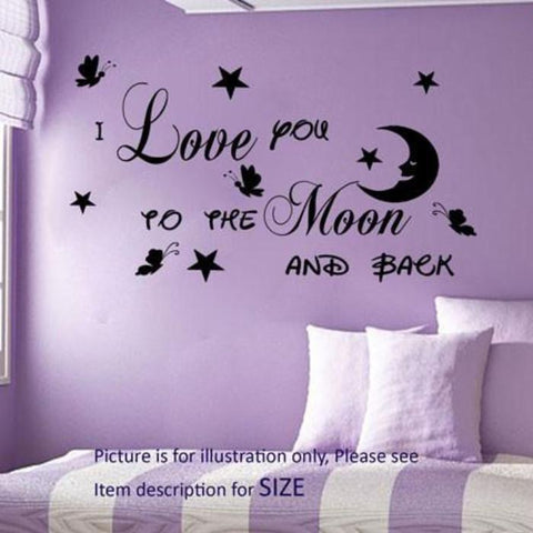 I Love You To The Moon And Back Butterfly Wall Sticker