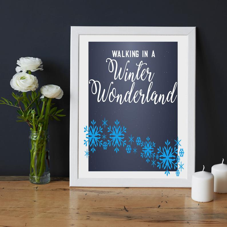 Winter Wonderland- Romantic quote framed wall art - Picture Frame