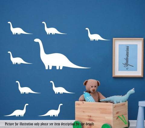 Apatosaurus Dinosaur Set Wall Sticker Dino Wall Decal Children Kids Nursery Vinyl Wall Art Sticker Bedroom Playroom Art